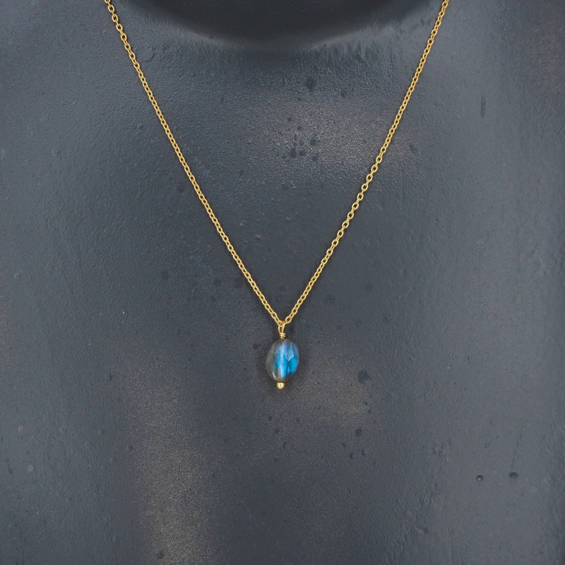 Drop labradorite gold necklace - LuckyTeam