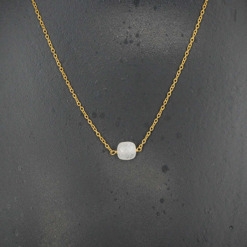 Square opal gold necklace -...