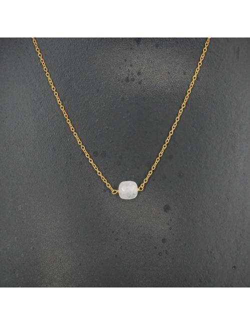 Collier opale carré en laiton doré - Lucky Team