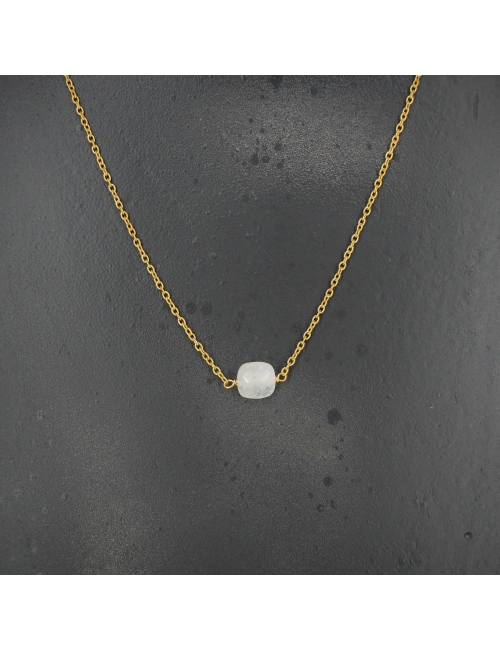 Square opal gold necklace - LuckyTeam