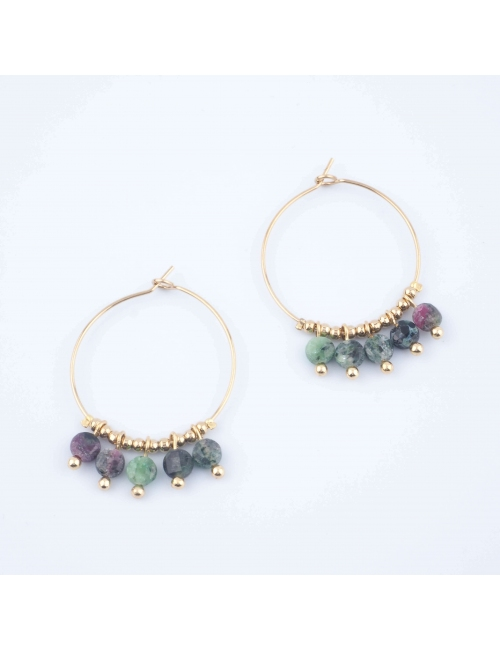 Lina malachite gold hoop earrings - Zag Bijoux