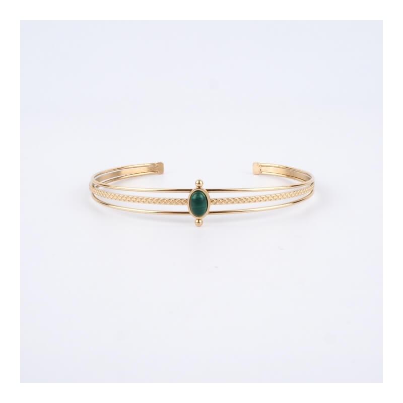 Bracelet jonc Saturne vert en acier jaune - Zag Bijoux