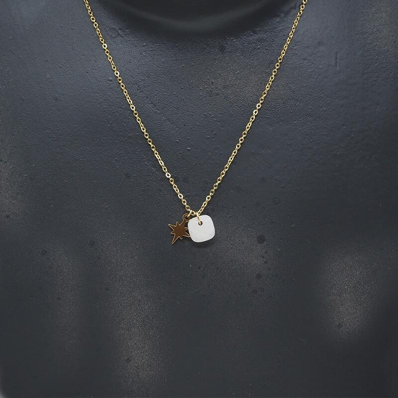 Collier stone polar en acier jaune et agate blanche - Zag Bijoux