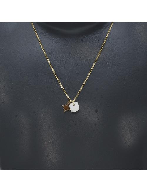 Collier stone polar en acier et agate blanche - Zag Bijoux