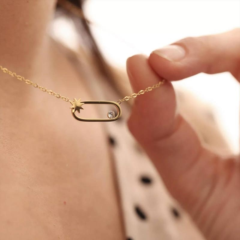 Collier ovale star en acier jaune - Zag Bijoux