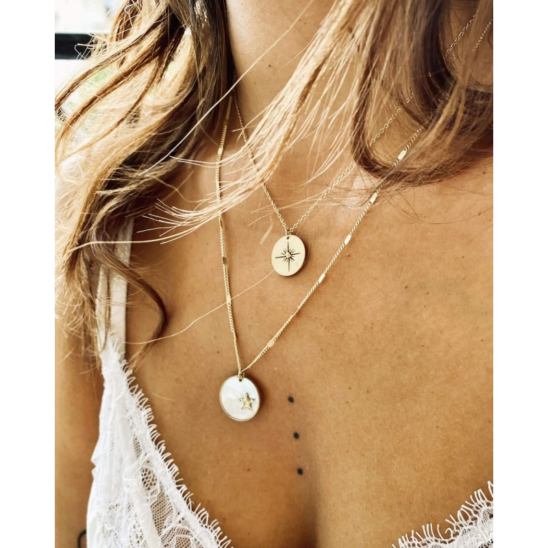 Compass gold necklace - Zag...