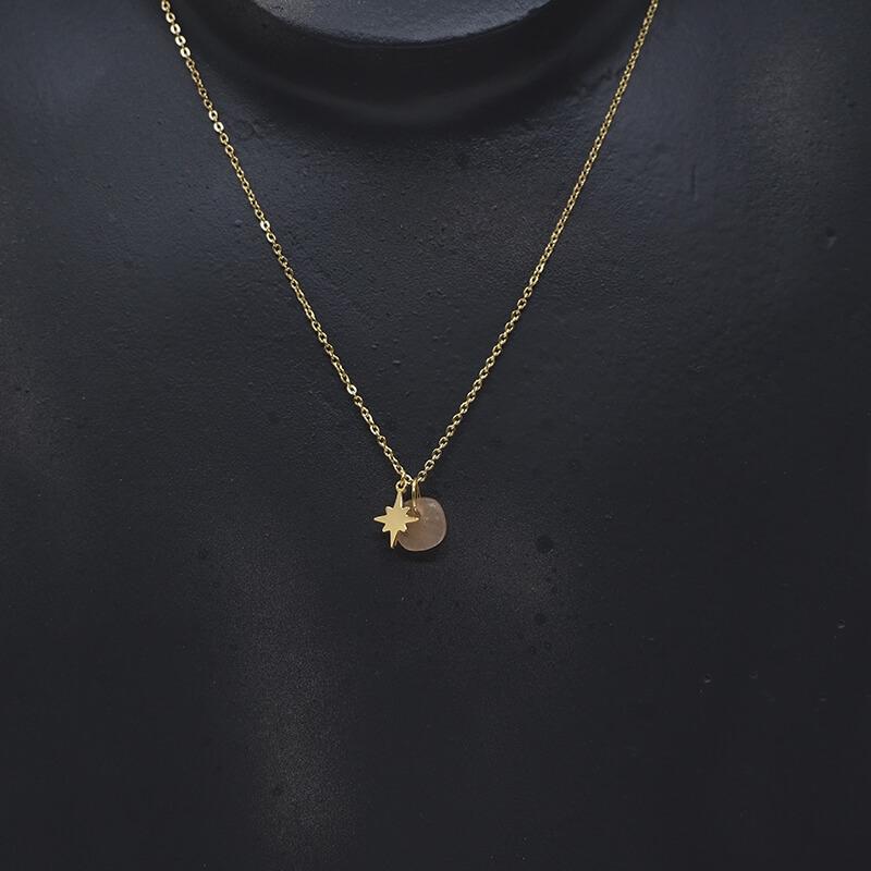 Collier stone polar en acier jaune et héliolite - Zag Bijoux