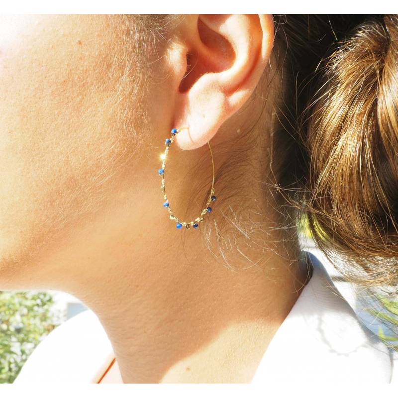 Boucles d'oreilles créoles précieuses malachite - Zag Bijoux