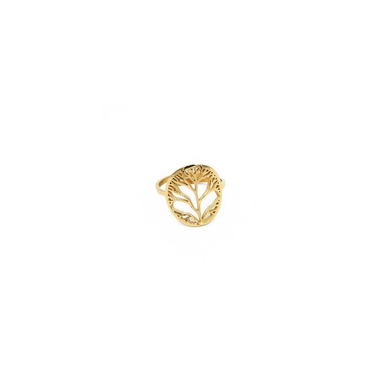 Bague arbre de vie en acier jaune - Zag Bijoux