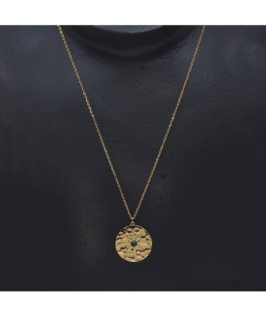 Collier pastille polar en acier jaune et malachite - Zag Bijoux - Zag Bijoux