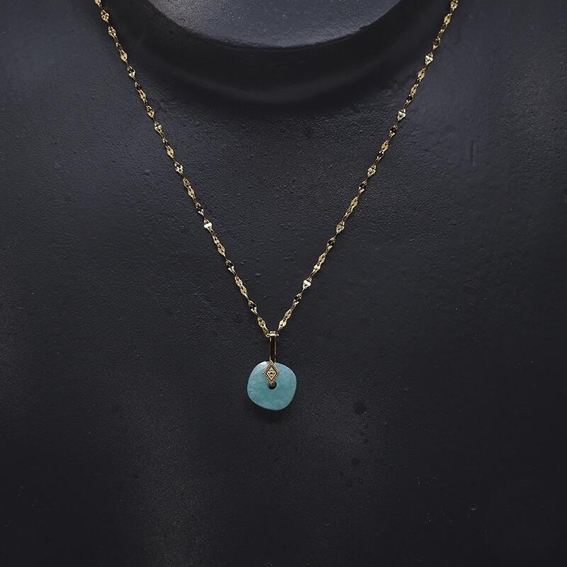 Collier losange précieux en acier jaune et amazonite - Zag Bijoux