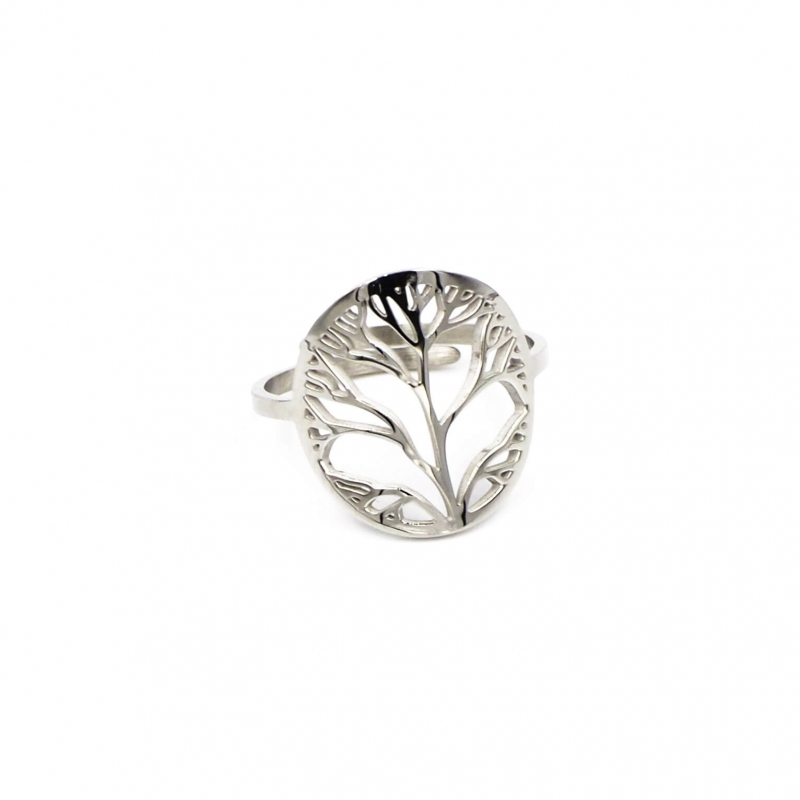 Bague arbre de vie en acier - Zag Bijoux
