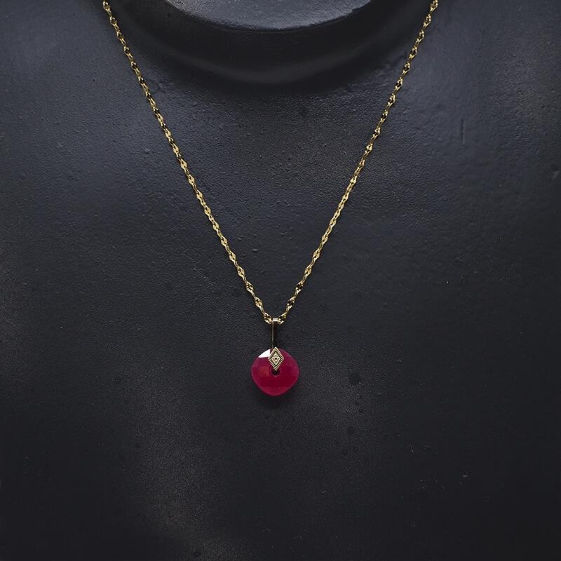 Collier losange précieux en acier et rubis indien - Zag Bijoux