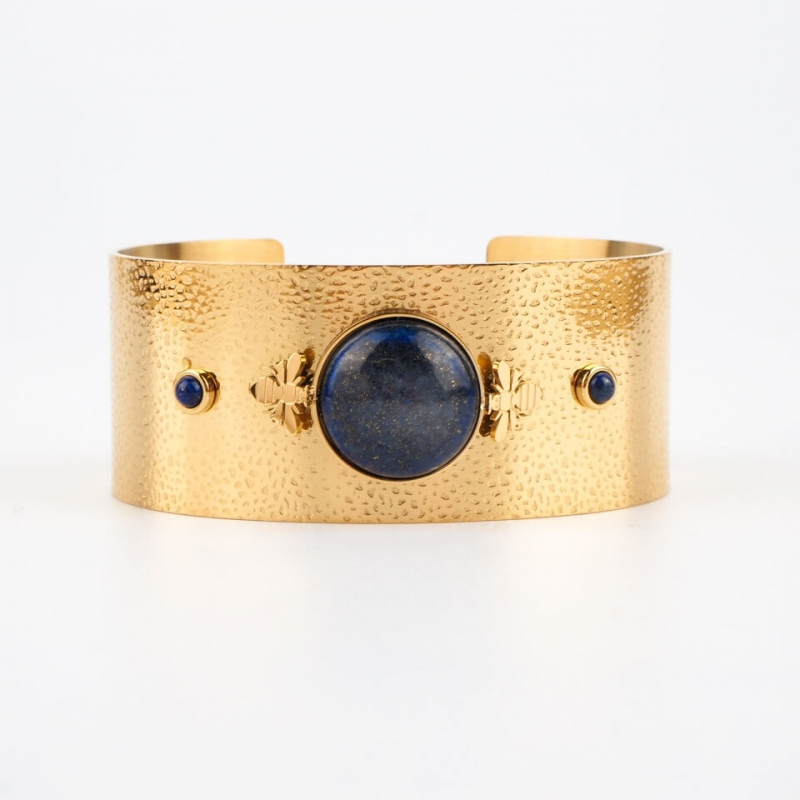 Bracelet manchette Bee bleue en acier or - Zag Bijoux