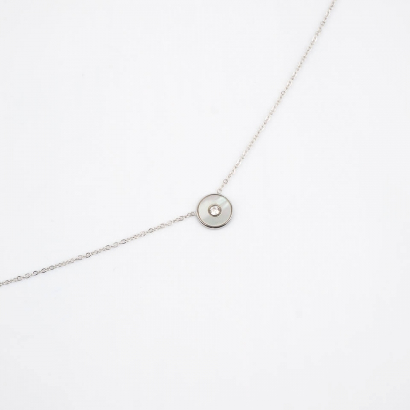 Cyclon silver necklace -...