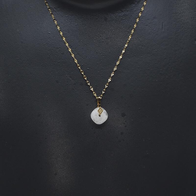 Collier losange précieux en acier et opale - Zag Bijoux