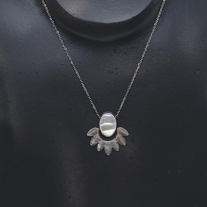 Collier plumes nacre en acier - Zag Bijoux