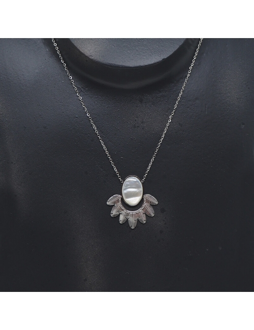Palm mother of pearl silver necklace - Zag Bijoux