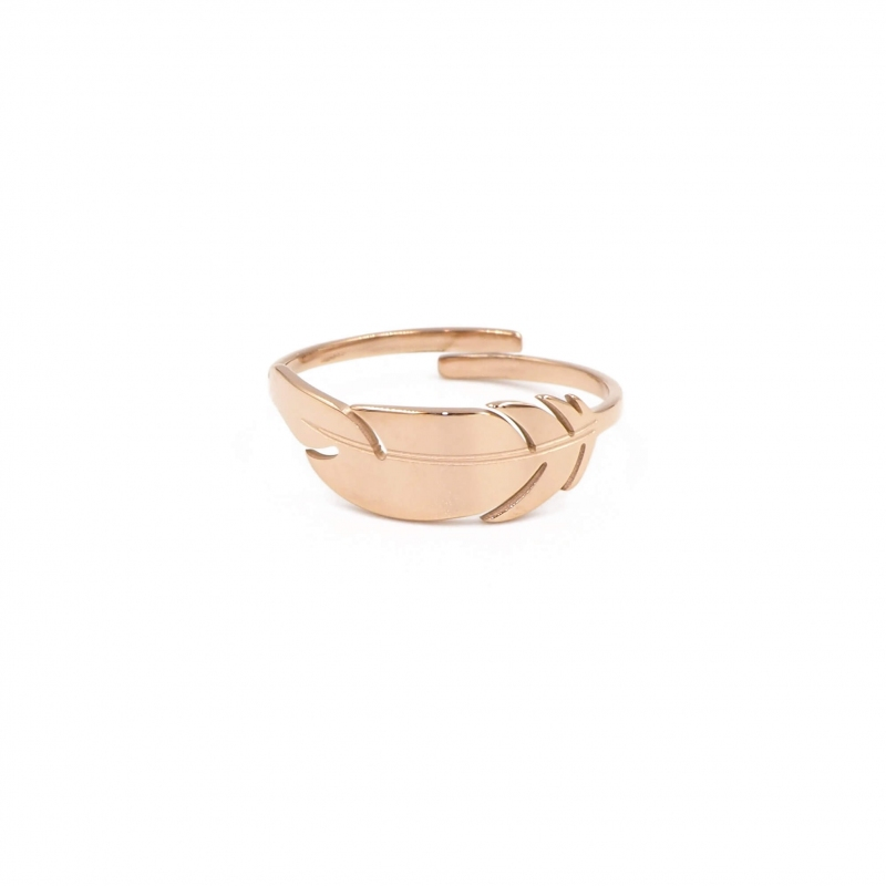 Feather rose gold ring -...