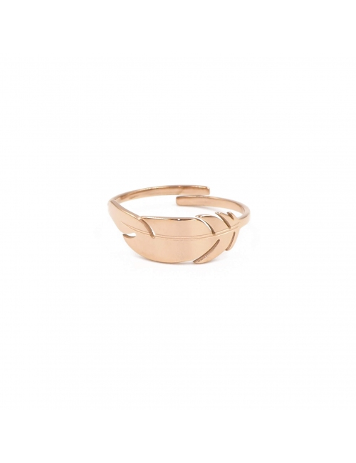 Feather rose gold ring - Zag Bijoux