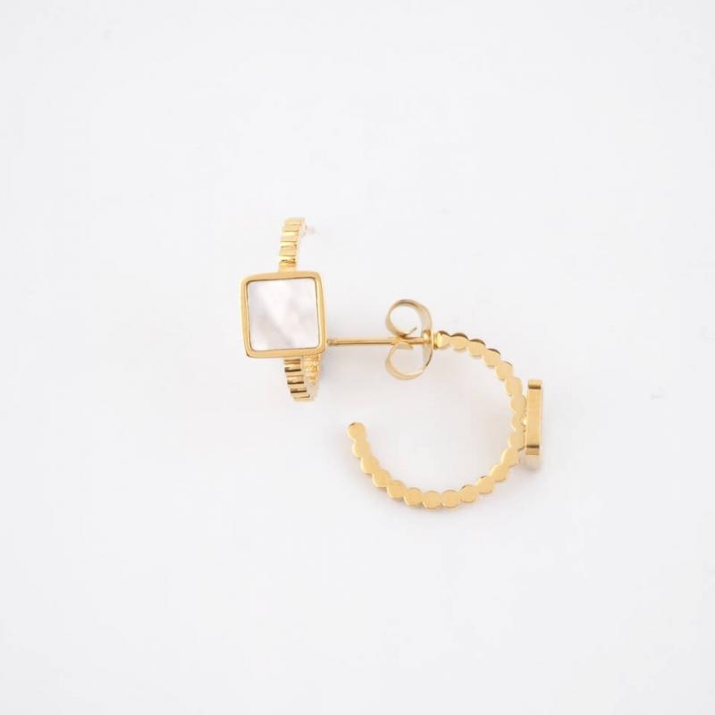 Cube gold hoop earrings -...