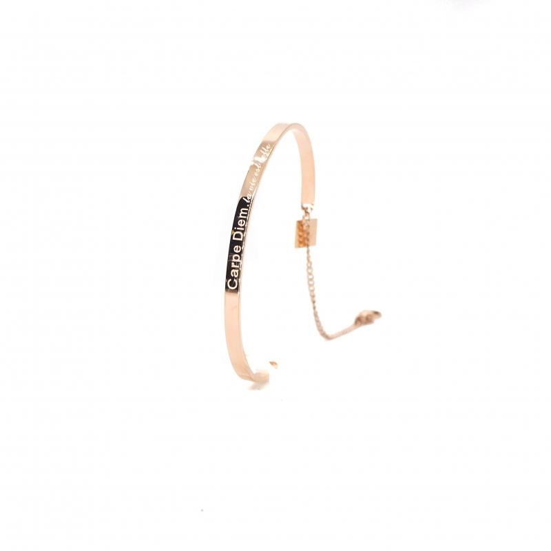 Jonc Carpe Diem en acier or rose - Zag bijoux