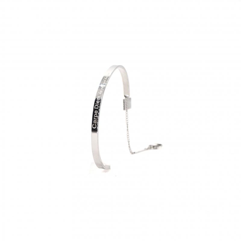 Carpe Diem silver bangle bracelet - Zag bijoux