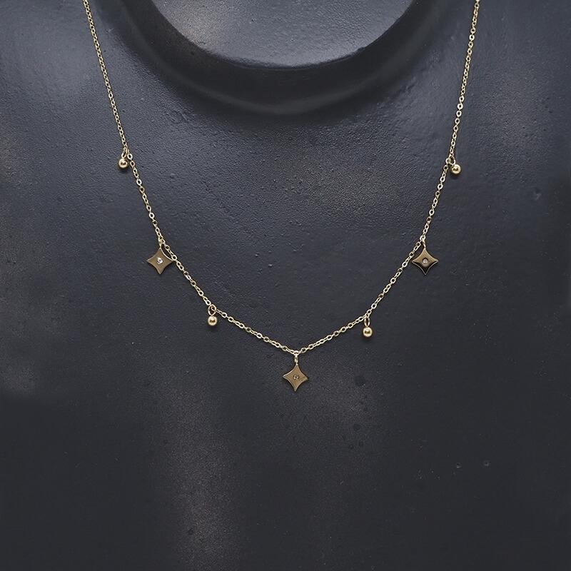 Diamond star gold necklace - Zag Bijoux