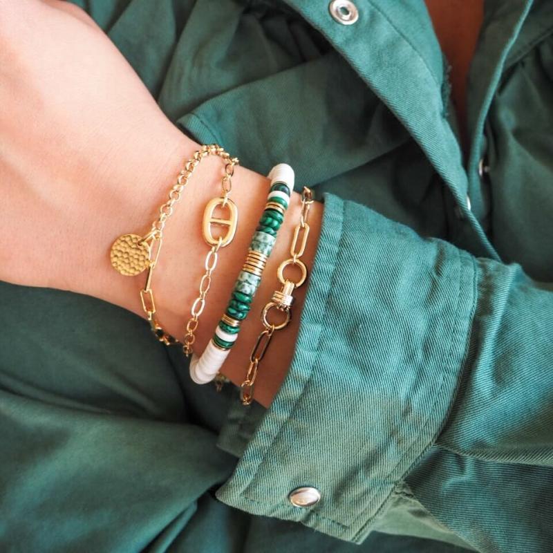 Bracelet Mani en acier or -...