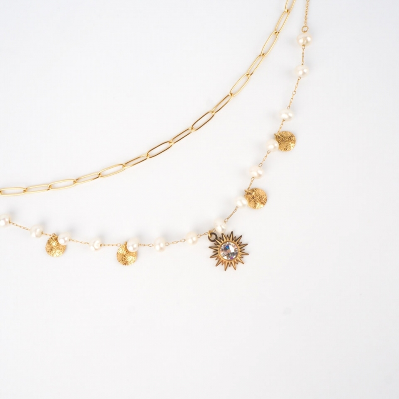 Siloe white gold necklace -...