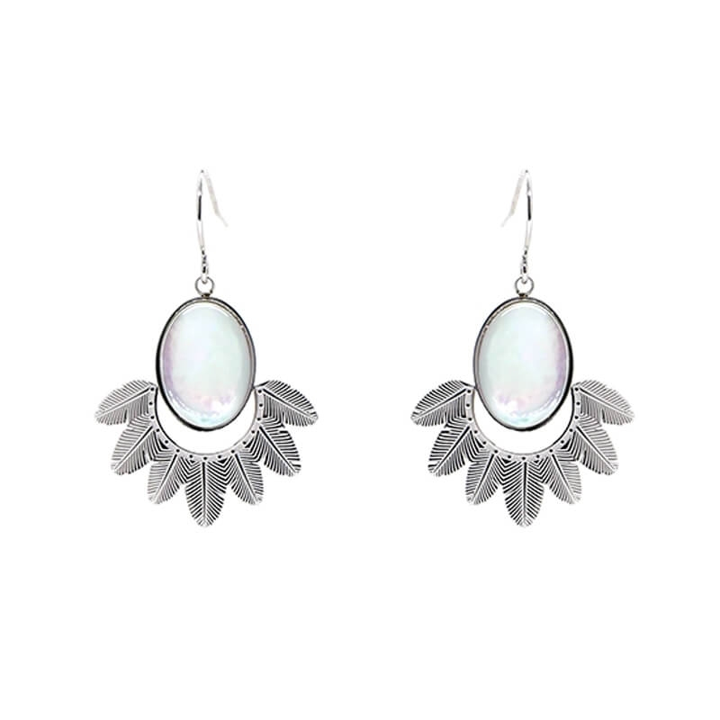 Palm pearly silver earrings...