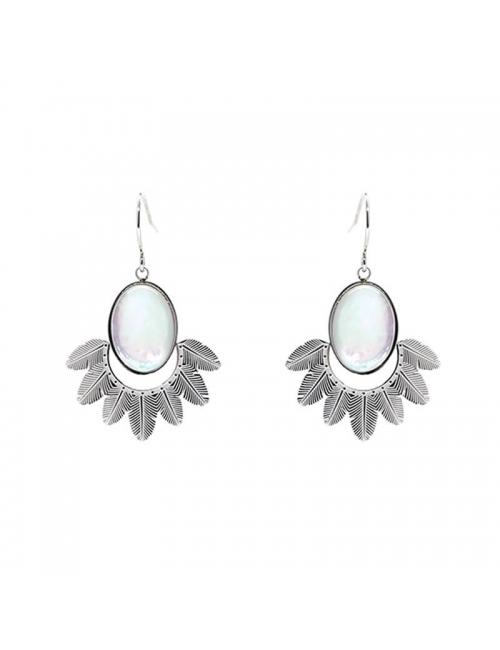 Palm pearly silver earrings - Zag Bijoux