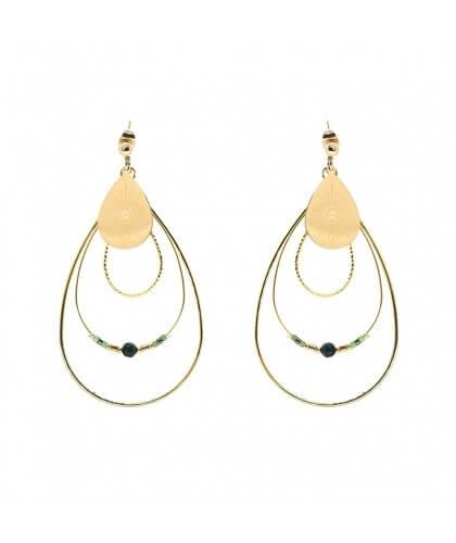 Boucles d'oreilles boréales en acier et malachite - Zag Bijoux