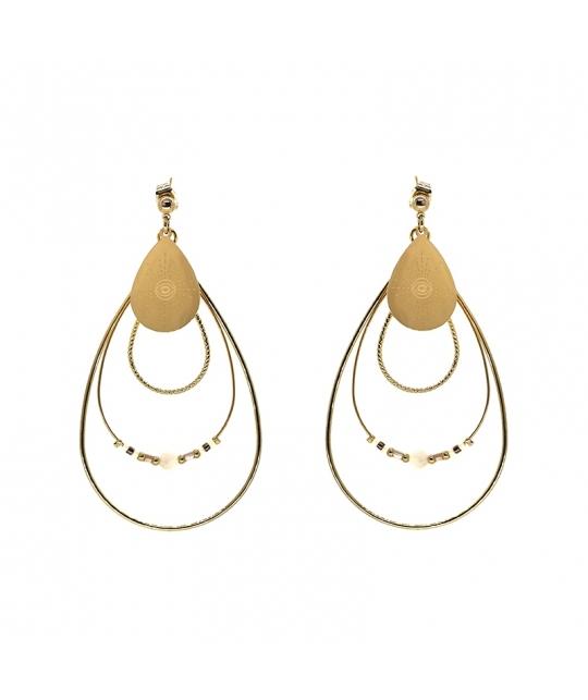 Boucles d'oreilles boréales en acier et agate - Zag Bijoux - Zag Bijoux