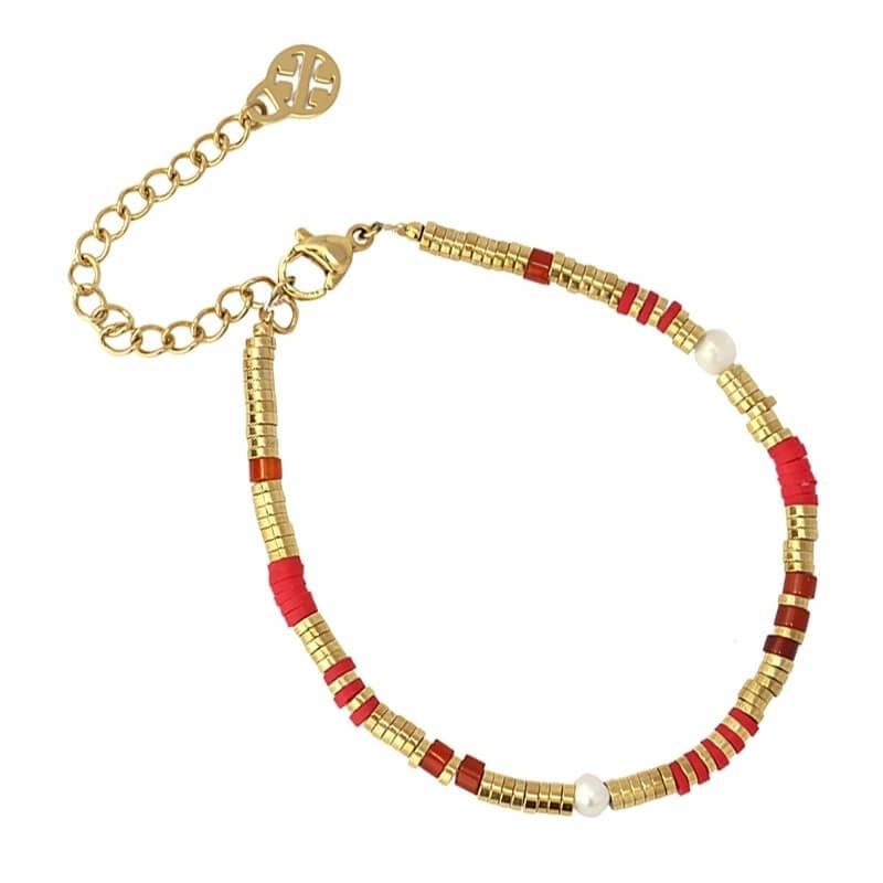 Bracelet Louisiane rouge en...