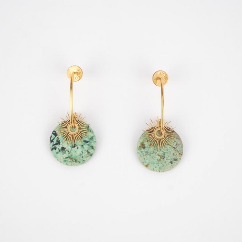 Virginia turquoise gold earrings - Anartxy