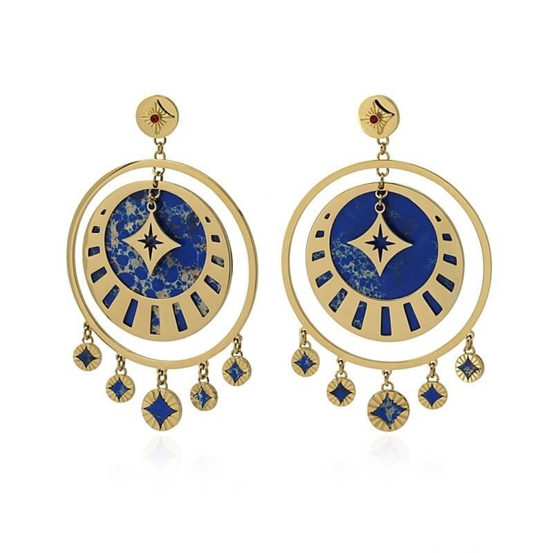 Dubail blue gold earrings - Anartxy