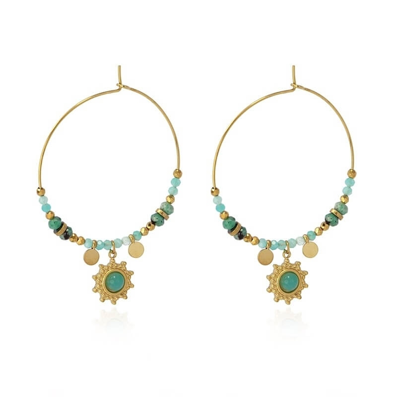 Bombay turquoise gold hoop...