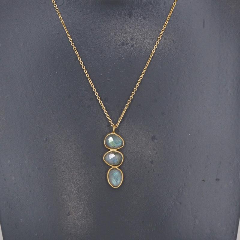 Labradorite trio necklace in gilded brass - Lucky Team