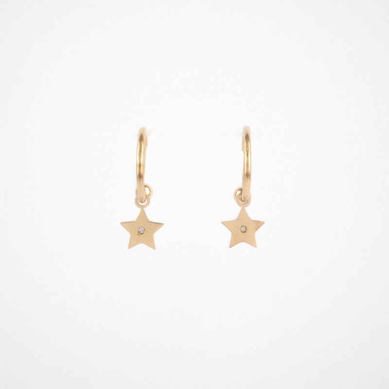 Mini créoles Star dorées en...