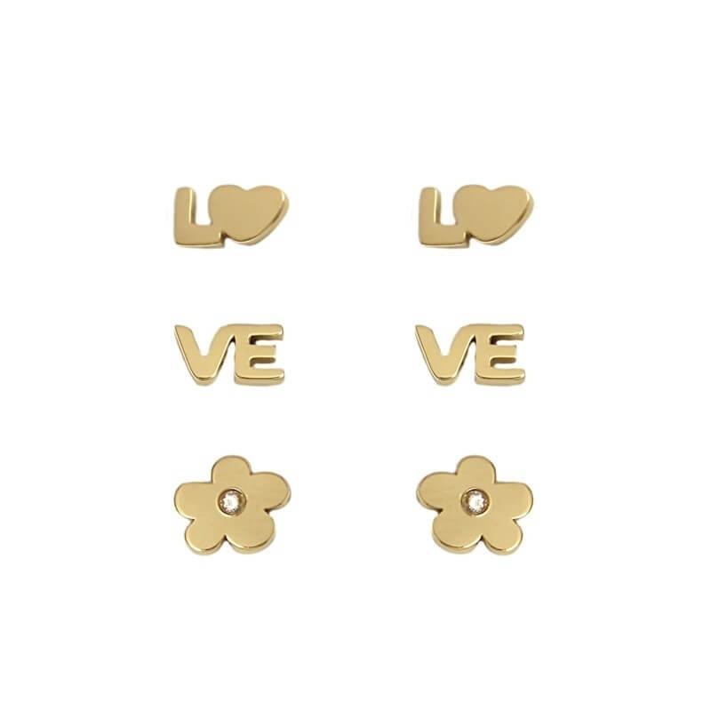 Trio Lover gold studs...