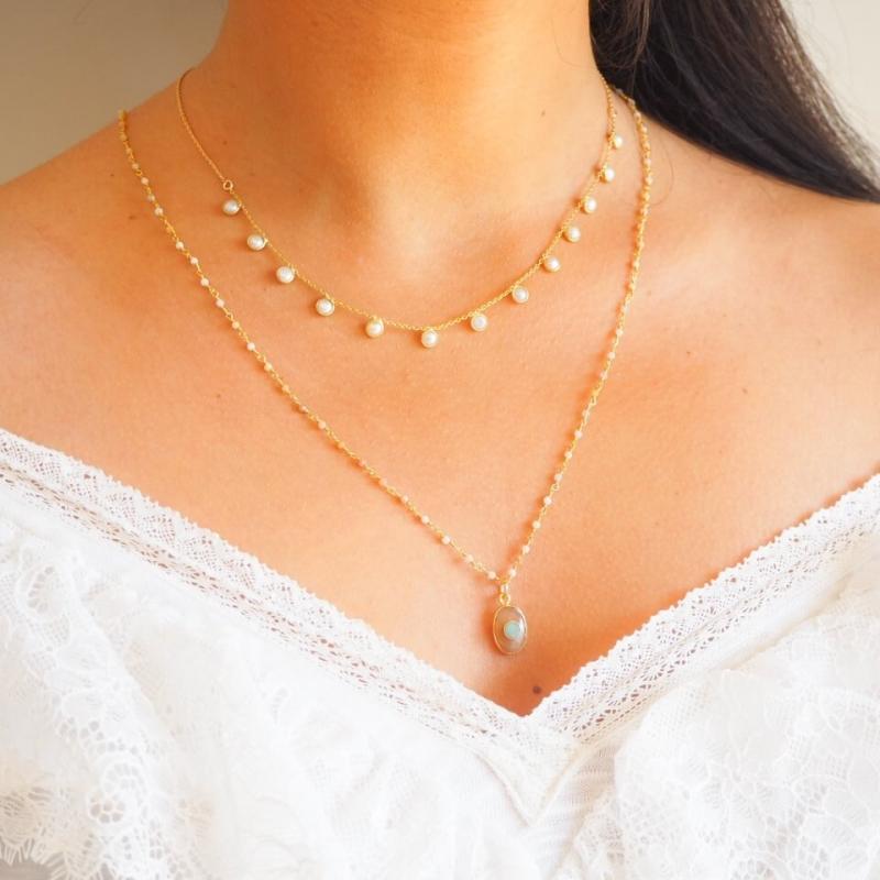 Radjah gold long necklace -...