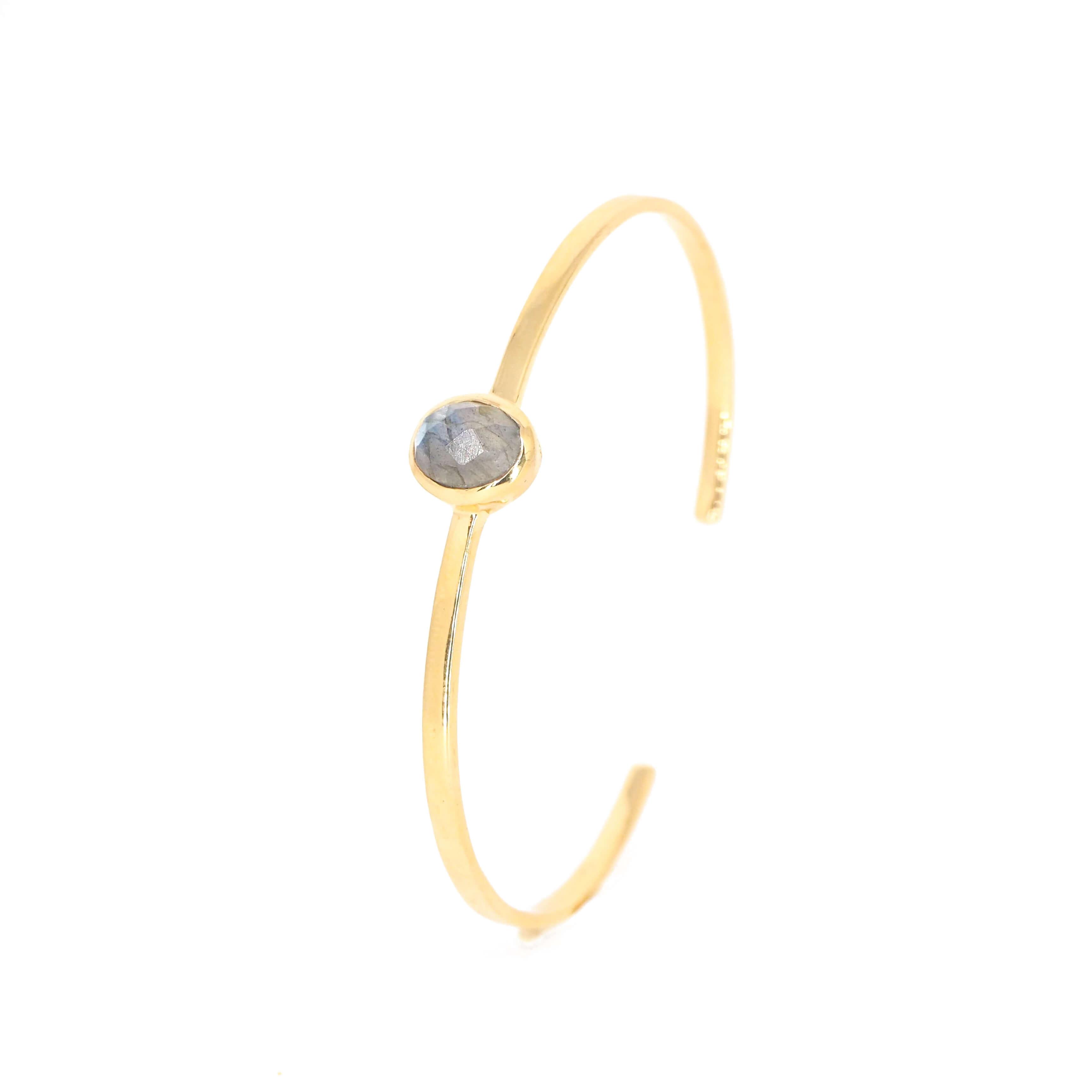 Bracelet jonc ovale précieux labradorite or - Lucky Team