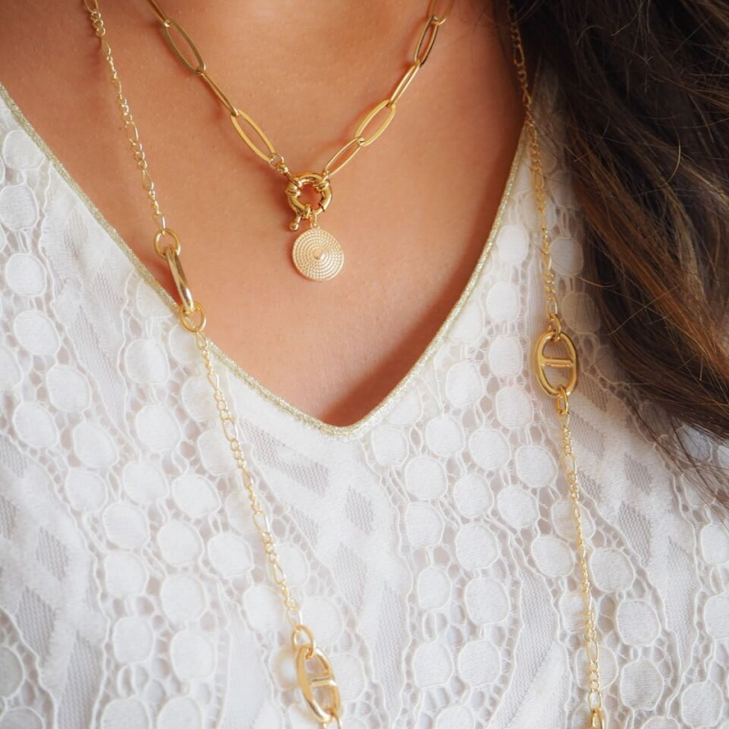 Prune gold long necklace -...