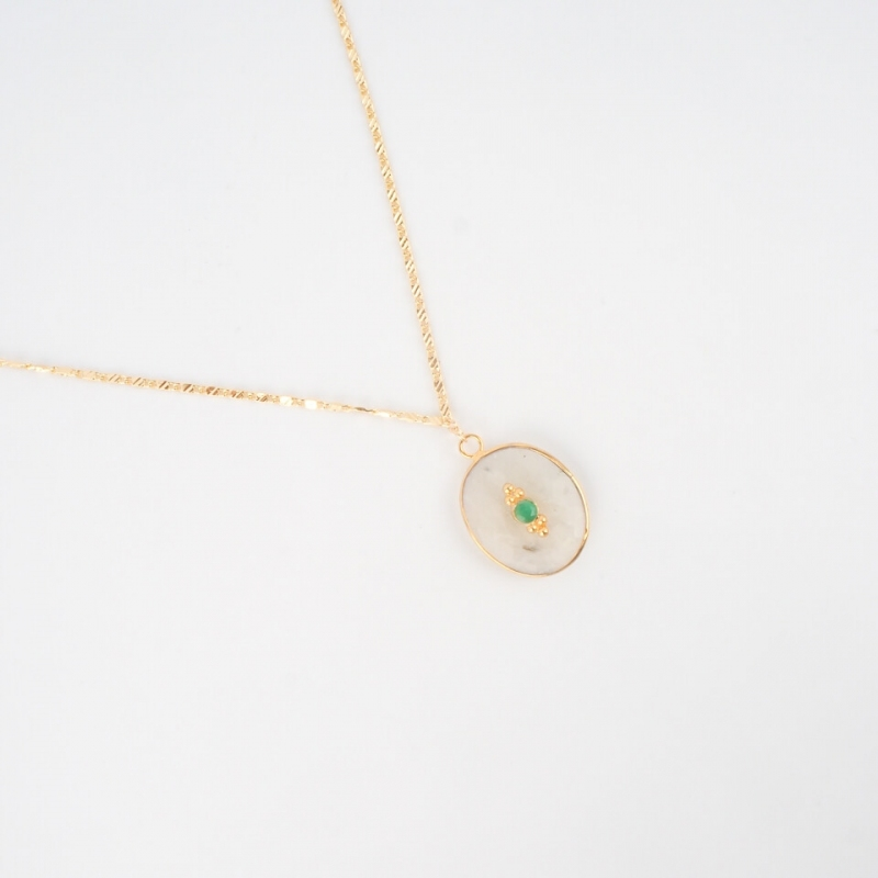 Bianca gold long necklace -...