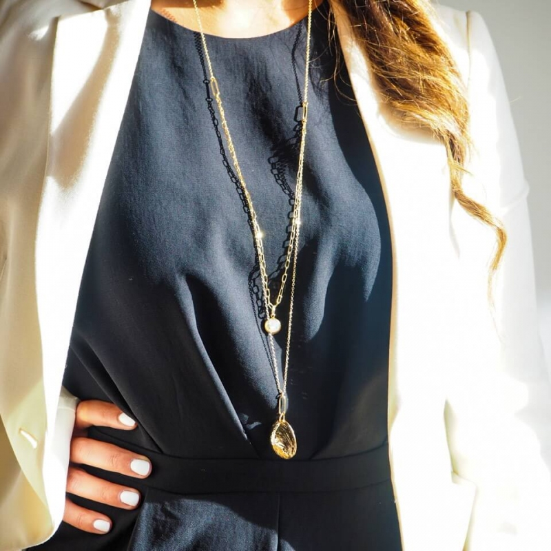 Marine gold long necklace -...