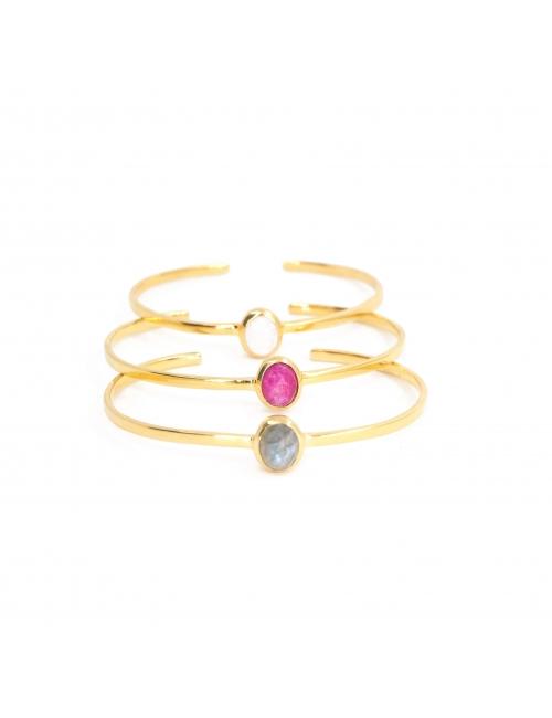 Precious labradorite gold bangle bracelet - LuckyTeam