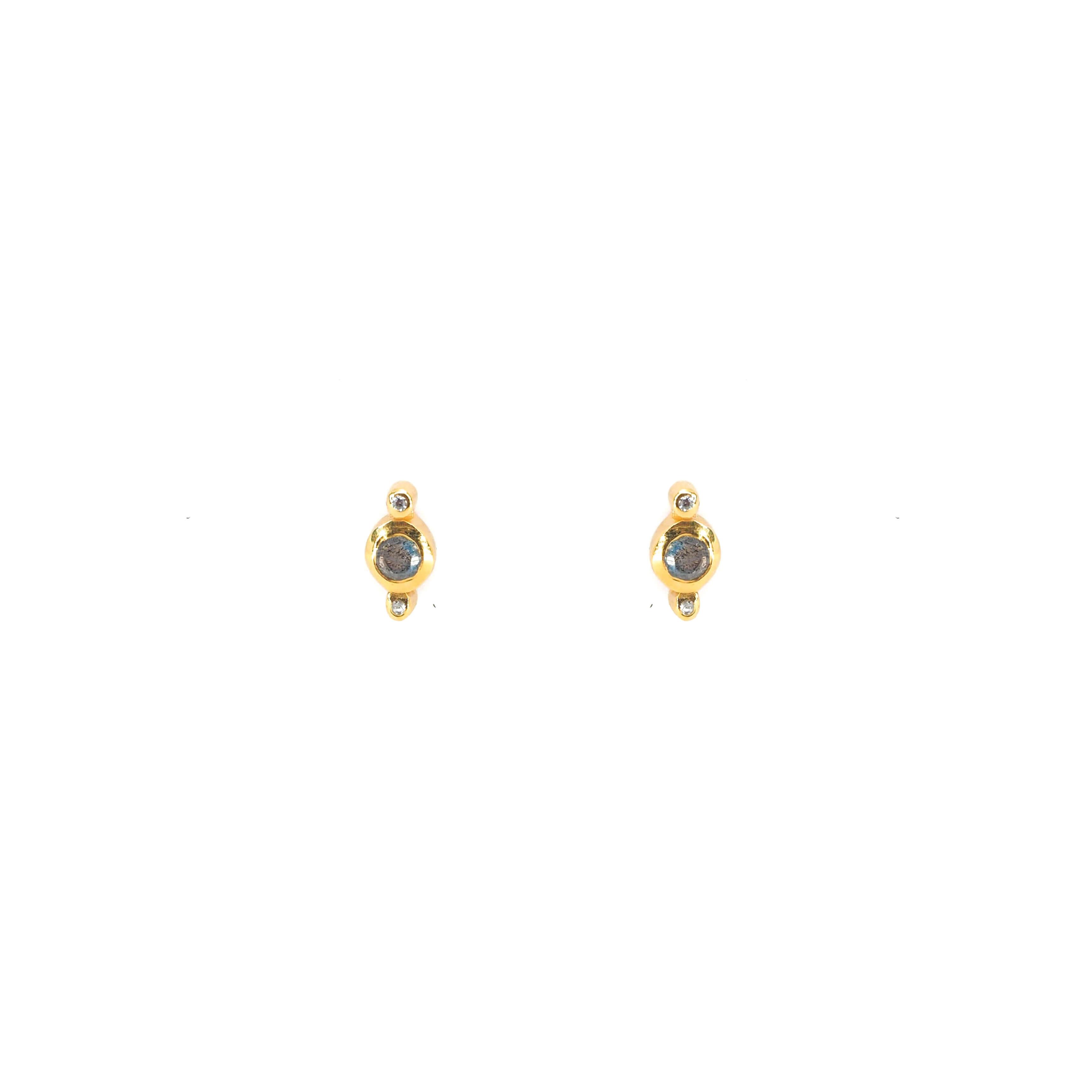 Boucles d'oreilles clous précieux et labradorite - Lucky Team