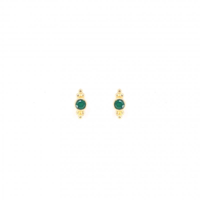 Precious green onyx gold earrings - LuckyTeam