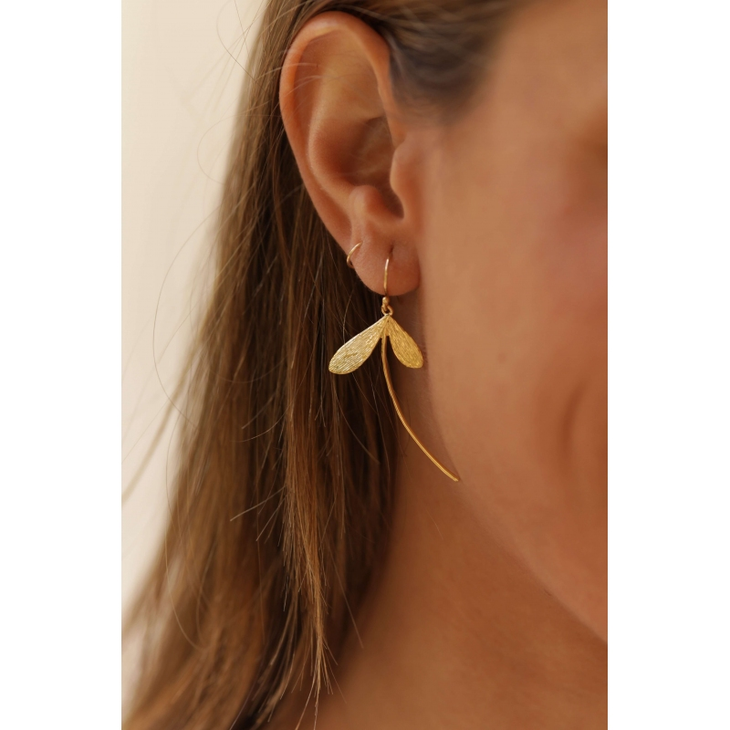 Libellule gold earrings -...